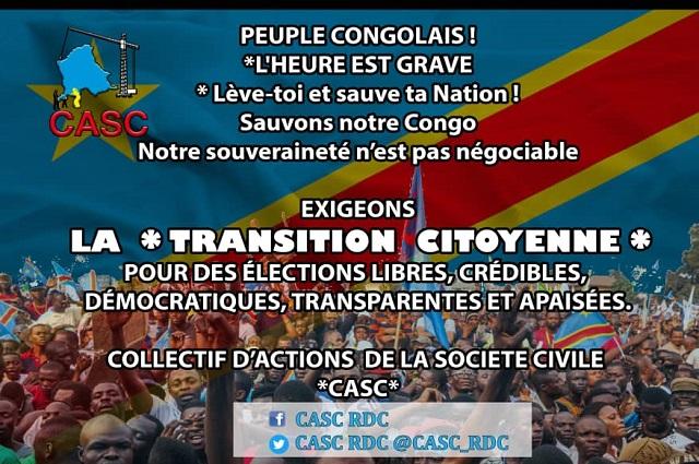 RDC : la société civile appelle à la mobilisation générale à partir de ce 19 septembre pour une transition citoyenne