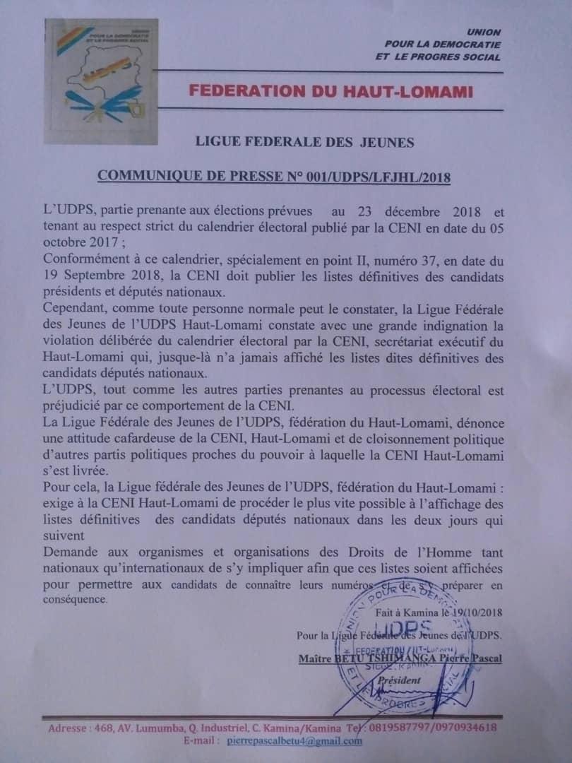 Haut lomami: UDPS exige à la CENI l'affichage des listes des Candidants députés nationaux