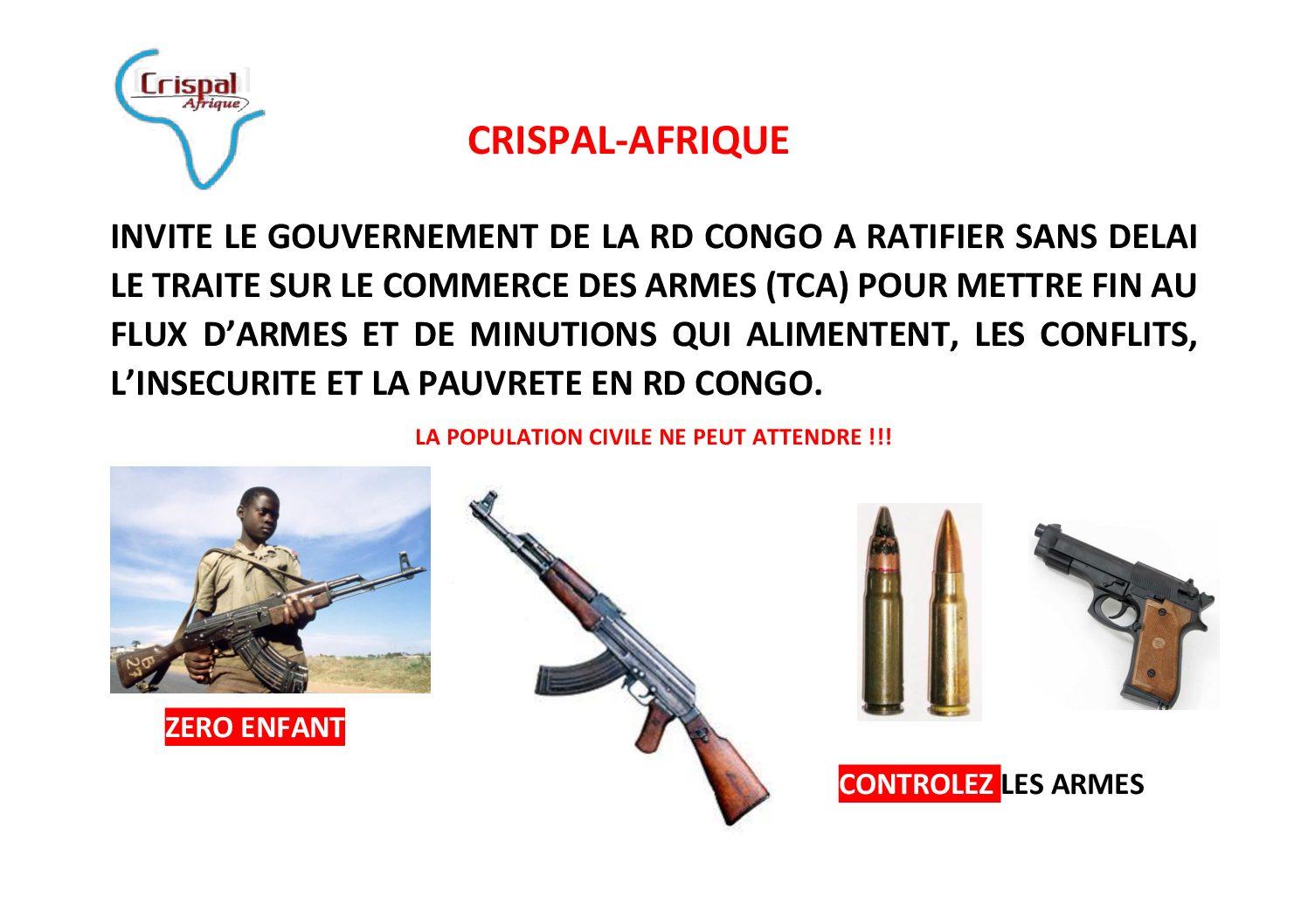 RDC: Crispal-AFrique impose au gouvernement Congolais à ratifier le traité sur les commerces  des armes