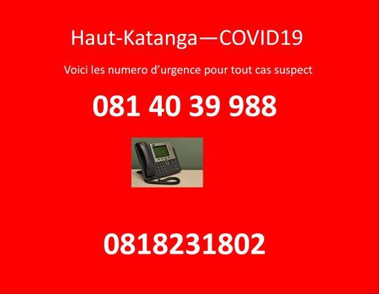 Haut-Katanga-Covid19:deux numéros d'urgences mises en place par le gouvernement provincial