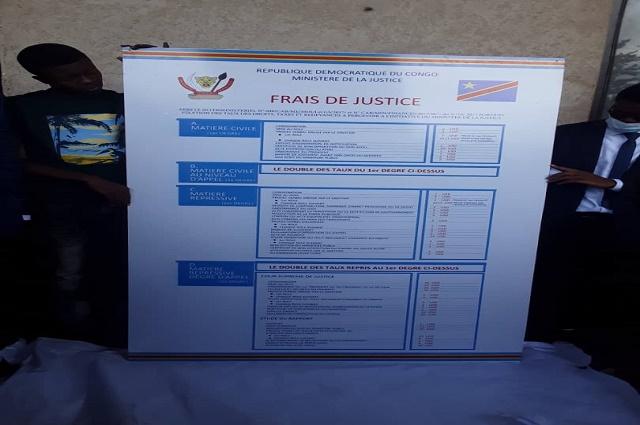 Lubumbashi: affichage des tarifs judiciaires dans les juridictions civiles
