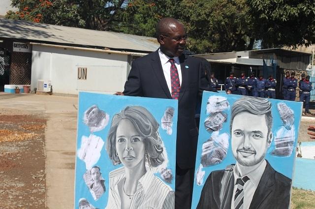 En hommage aux casques bleus: Michael Sharp et Zaida Catalan immortalisés  à Lubumbashi