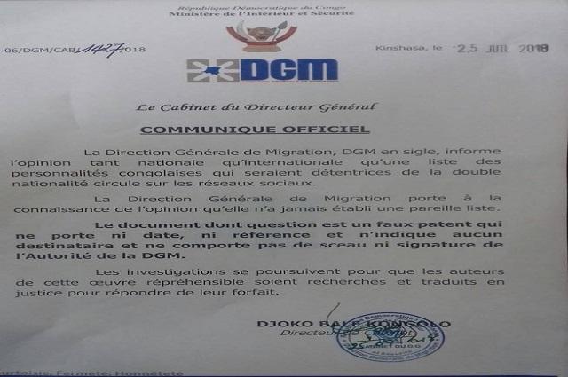 RDC: la DGM dément avoir publié une liste des personnalités détenant une double nationalité