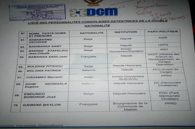 RDC : une centaine de personnalités détiendrait une double nationalité selon la DGM