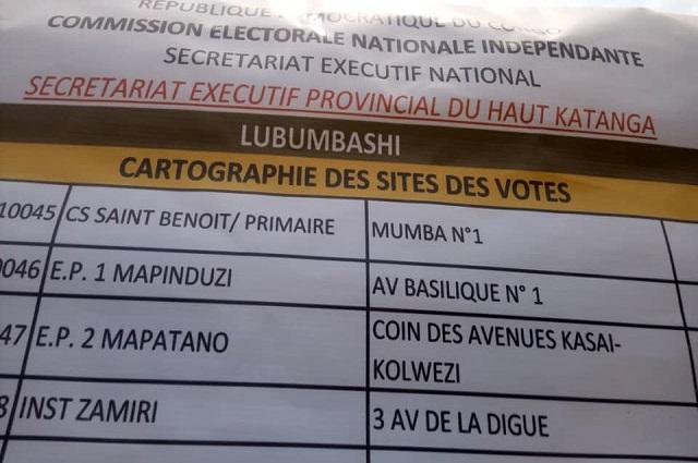 Lubumbashi: 2008 bureaux de vote seront ouverts le 23 décembre